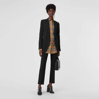 Burberry Straight Fit Wool Tailored Trousers