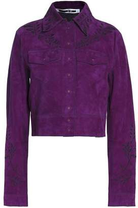 McQ Floral-Embroidered Suede Cropped Jacket