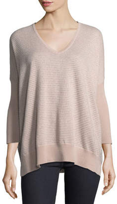 Neiman Marcus Metallic Mini-Stripe Cashmere-Blend Dolman Sweater