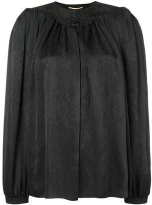Saint Laurent embroidered smock blouse