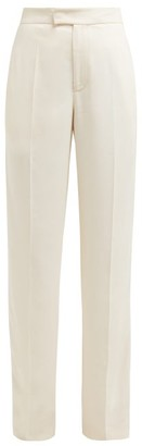 Joseph Ferry Satin Trimmed Wide Leg Crepe Trousers - Womens - Ivory