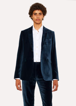 Paul Smith Men's Slim-Fit Slate Blue Velvet Blazer