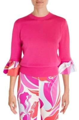 Emilio Pucci Silk Twill Ruffle Knit Sweater