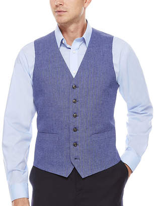 STAFFORD Stafford Linen Cotton Mid Blue Herringbone Vest-Classic