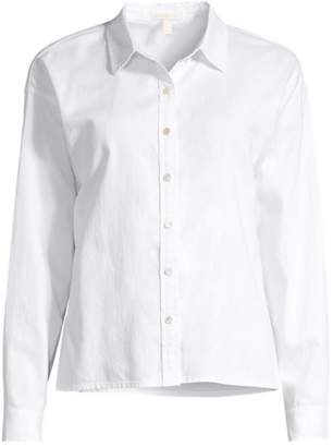 Eileen Fisher Organic Cotton Twill Collared Shirt