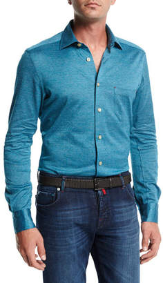 Kiton Long-Sleeve Knit Cotton Shirt, Teal