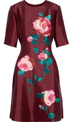 Lela Rose Floral-Print Silk-Taffeta Mini Dress