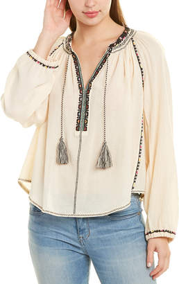 Isabel Marant Etoile Embroidered Tie-Neck Blouse