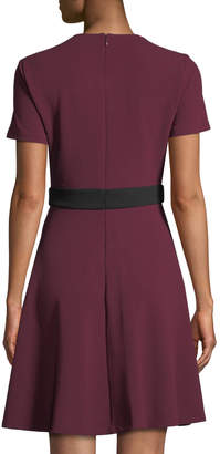 Neiman Marcus Twist-Neck Banded-Waist Fit & Flare Dress
