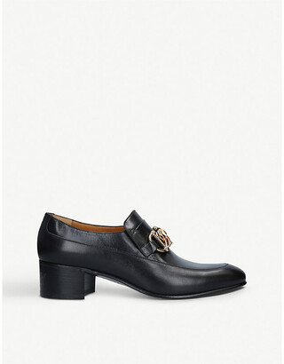 Gucci Ebal chain-embellished studded leather loafers
