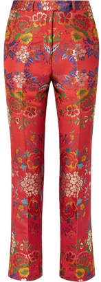 Etro Floral Satin-jacquard Slim-leg Pants - Red