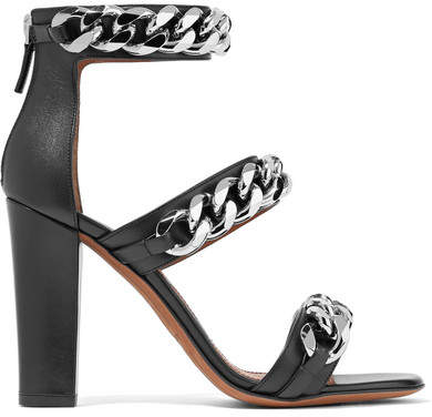 Givenchy - Chain-embellished Sandals In Black Leather