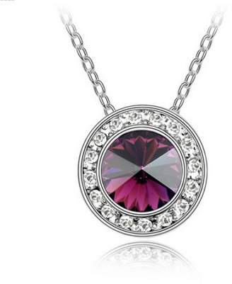 "Swarovski Alvdis Fashion Jewelry Circles Style Sterling Crystal Pendant Necklace, 16"", Purple"