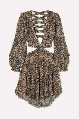 Zimmermann Eyes On Summer Cutout Leopard-print Cotton And Silk-blend Chiffon Dress - Leopard print