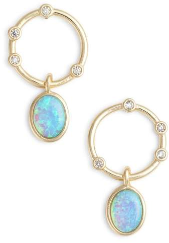 Opal & Crystal Link Circle Drop Earrings