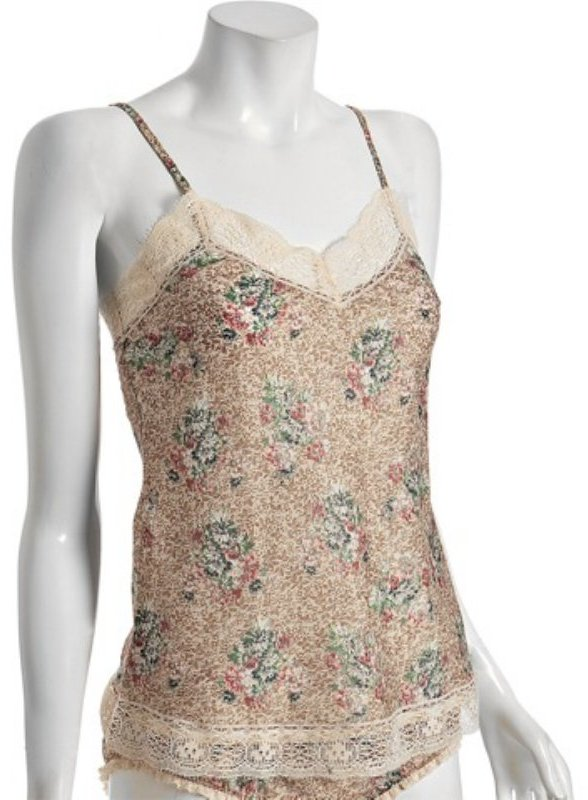 Only Hearts tan glitter floral cotton 'Camille' camisole
