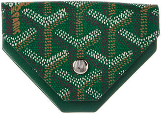 Goyard Green Goyardine Canvas & Leather Triangle Coin Pouch