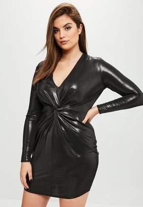 Missguided Curve Black Metallic Bodycon Mini Dress