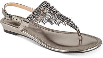 Thalia Sodi Ivorie Jewled Wedge Sandals, Created For Macy's