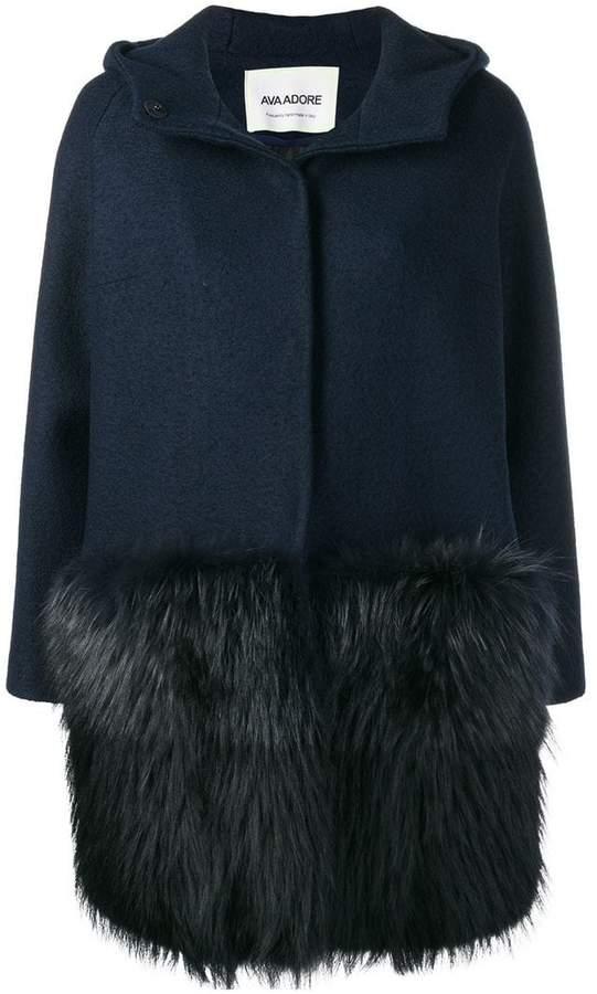Ava Adore fur detail hooded coat