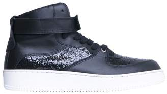 RED Valentino Glittered Leather High-top Sneakers