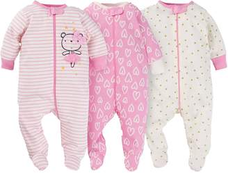 Gerber Onesies Baby Girl Sleep N Play Sleepers 3 Pack (0-3 Months, Ballerina)