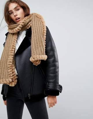 Urban Code Urbancode Knitted Scarf With Faux Fur Trim