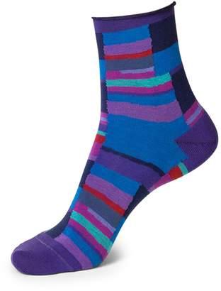 Bleu Foret Colourblock Velvet Ankle Socks