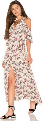 J.o.a. Cold Shoulder Maxi Wrap Dress