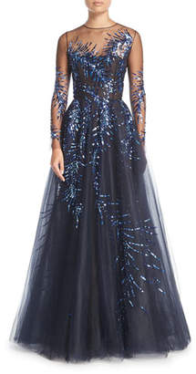 Oscar de la Renta Long-Sleeve Illusion Tulle Evening Gown w/ Sequined Embellishments