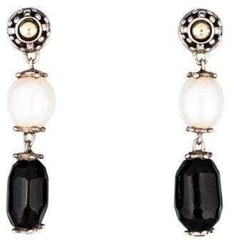 John Hardy Onyx & Pearl Dot Drop Earrings