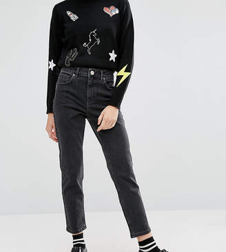 Asos Design Petite Farleigh High Waist Slim Mom Jeans In Washed Black