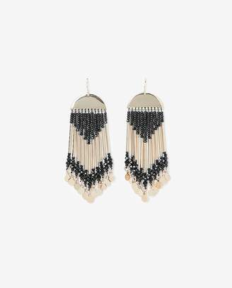 Express Seed Bead Fringe Post-Back Drop Earrings