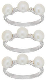 Honora Cultured Pearl Set of Three Rings,Sterling