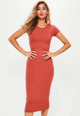Missguided Orange Short Sleeve Midi Dress