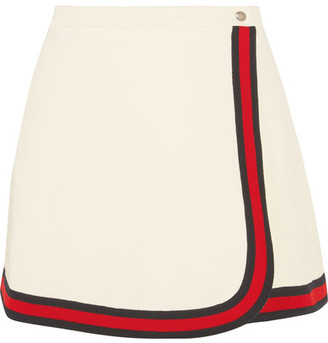 Gucci - Stripe-trimmed Twill Mini Skirt - Ivory $550 thestylecure.com