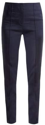Diane von Furstenberg Slim Leg Linen Blend Trousers - Womens - Navy