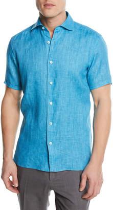 Ermenegildo Zegna Solid Linen Short-Sleeve Sport Shirt