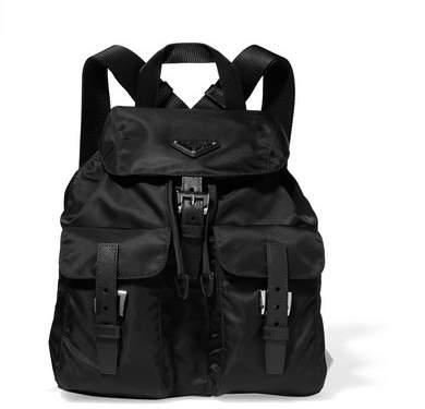 Prada - Vela Small Textured-leather Trimmed Shell Backpack - Black