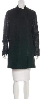 Closed Vegan Leather-Paneled Knee-Length Coat