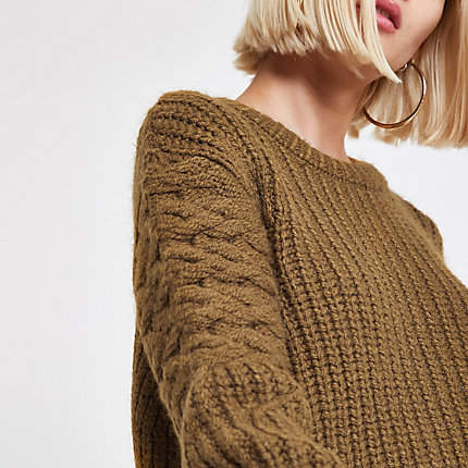 Womens Khaki cable knit crew neck jumper