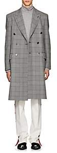 Calvin Klein Men's Checked Wool-Silk Double-Breasted Overcoat - Light Gray