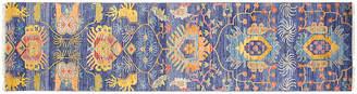 "F.J. Kashanian 2'7""x8' Sari Wool Liam Rug - Indigo/Gold"