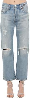 Atelier Jean Cropped Distressed Cotton Denim Jeans