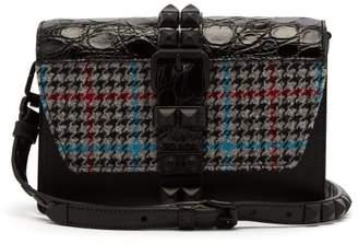 Prada Elektra Studded Leather Cross Body Bag - Womens - Blue Multi