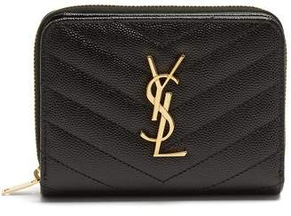 Saint Laurent Monogram quilted pebbled-leather wallet