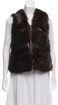 Ralph Lauren Leather Trim Fur Vest Brown Leather Trim Fur Vest