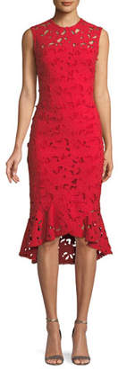 Shoshanna Drayton High-Low Lace Midi Dress w/ Flounce Hem