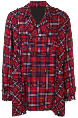 Undercover distressed plaid coat