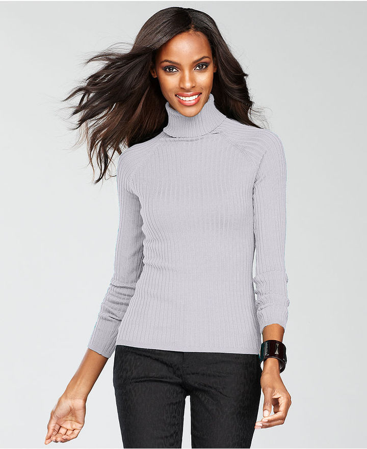 INC International Concepts Sweater, Long-Sleeve Ribbed-Knit Turtleneck